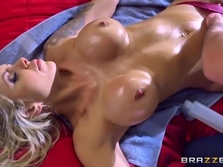 I was giving massage to my step-mom. She was lying in her sexy red lingerie...