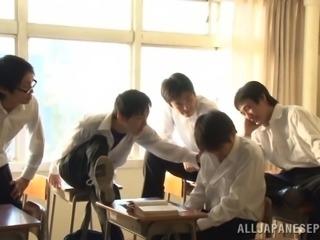 A naughty Japanese girl fucks her teacher for a better grade