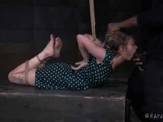 Petite girl gets angry during the aggressive bondage treatment