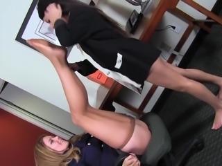 office lesbians foot worship , very erotic