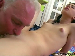 Small tittied college girl Olga gives her head and gets her muff spooned