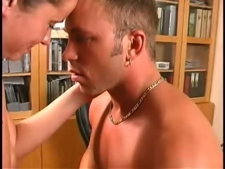 Adorable white girl sucking cock of a big muscular stud