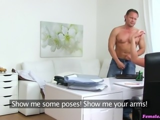 sexy female agent caitlin interviews muscled hunk
