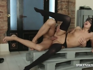 Graceful babe in mask Anita takes hard pole in doggy pose after good blowjob