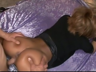 Experienced porn slut Riku Hinano doggy fucked hard