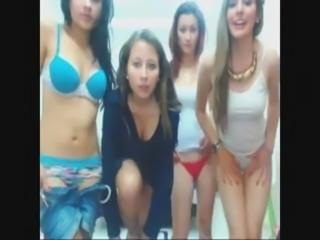 4 cute teens playing in webcam
