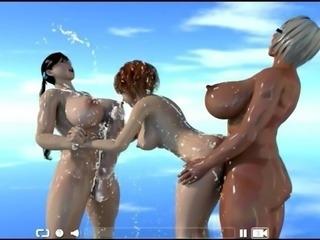 So much futanari milk in threesome hentai