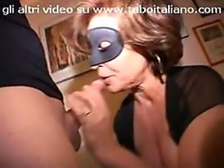 Masked Italian Mature Sucks and Fucks Big Cocks in a Kinky Threesome