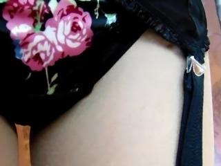 1950's Flower Dress And Black Underwear