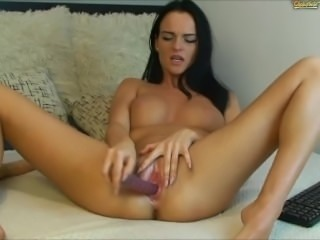 Hot College Chick Masturbates with a Dildo after class!
