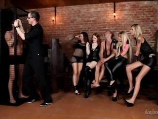 Kinky orgy with leather ladies and big cock guys