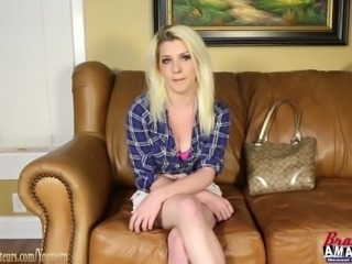 Busty girl on casting couch fucked hard pov