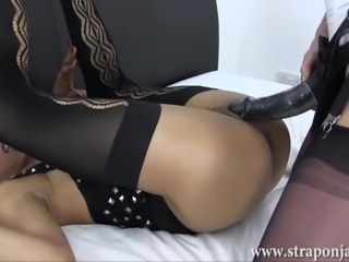 Milf lezdom fucks busty babe horny wet cunt with big strapon