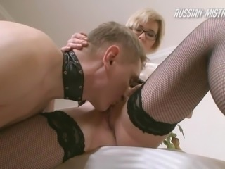 Nerdy Russian babe punishes her man in a rough femdom way