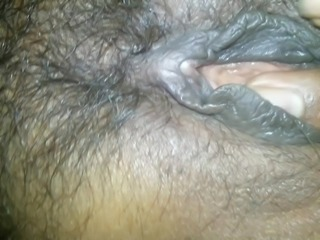 Playing with wet hairy Pussy