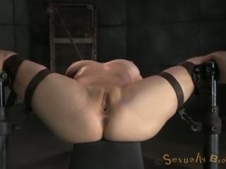 White master fucks tied up busty blonde mish while she sucks BBC (MMF)