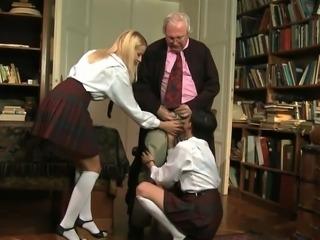 Naughty schoolgirls and lucky old bastard