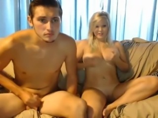 Sexy blond big boobs tits and shaved pussy playing with BF