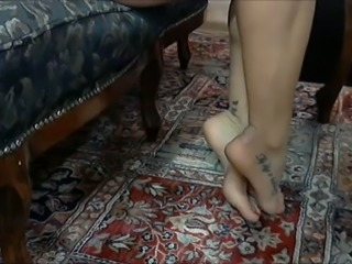My bride demonstrates her beautiful pedicured feet
