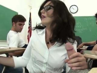 Today this nymphomaniac teacher teaches her students a