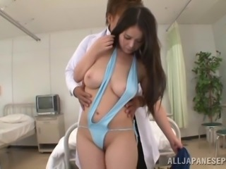 Vixenish Japanese cutie getting teased with toys then gang banged