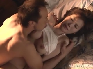 Lusty licking and fingering arouse the Japanese girl for his cock