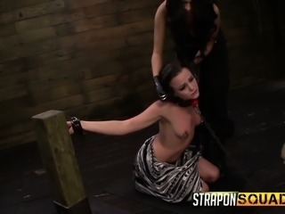 Brooklyn Daniels, Mila Blaze and Lexy Villa play with ball gags and dildos in...