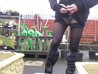 Crossdresser public garden centre flashing