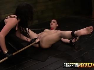 Kinky brunettes Kimber Woods, Brooklyn Daniels, and Mena Li engage in a hot...