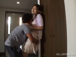 Japanese wife with a hairy pussy getting nailed doggy style