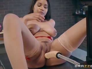 Ebony scientist bends over for a lucky guy's fat dick