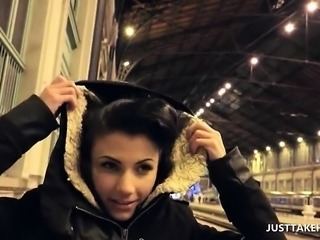 Cute brunette flashing tits in public