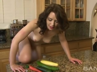 Black haired sexy housewife Sarah Shevon bangs her fuck holes with various...