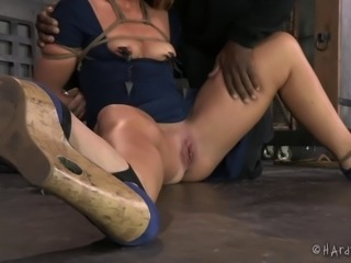 Considerate slaved bimbo with hot ass in bondage being tortured while yelling...