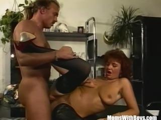 Brunette Office MILF In Sexy Stockings Fucked