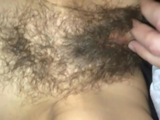 Mommy lets me shoot a load on her hairy pussy