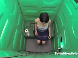 Cuckold waits for his girlfriend in a Porta Potty Gloryhole, once she...