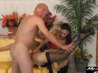 Ange Venus and Layla Rivera participate in a kinky threesome