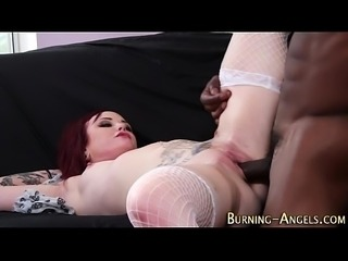 Emo slut gets black cock
