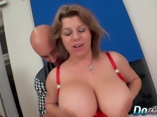 Big boobed wife fucks for her husband