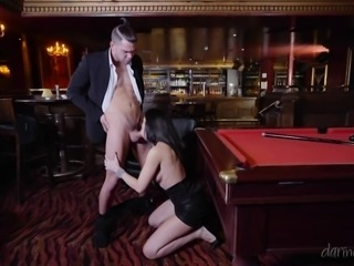 My new lover and I were enjoying a game of snooker in our private game hall,...