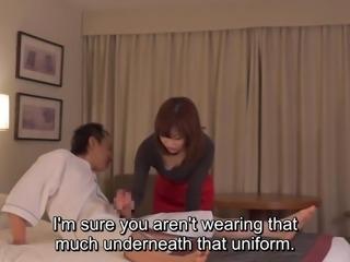 Subtitled CFNM Japanese hotel milf massage leads to handjob
