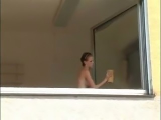 Playful topless light haired GF of my buddy was washing the windows