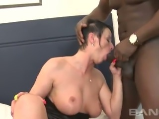 Short haired European housewife with yummy shapes Michaela got her anus...