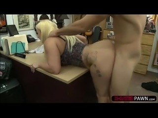 Busty and fat Nina Kayy sells a weapon and gets banged by Shawn