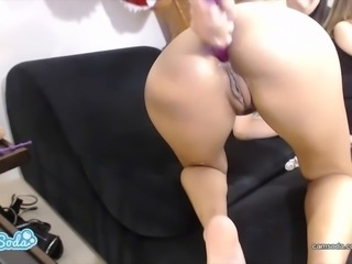 Veronica Rodriguez squirting on a TREX and 3 TIT latina fuckbots to orgasm