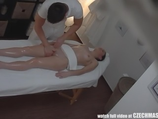 The camera caught some sexy hidden action in the massage parlor. She thought...