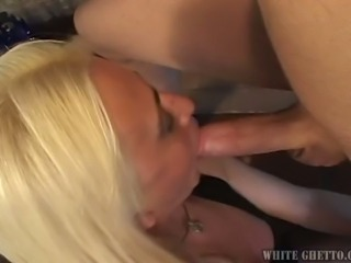 Yummy blond haired tranny in sexy stockings Sabrina Pena gets butt fucked...