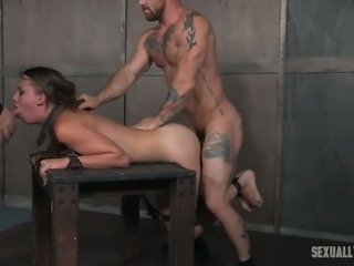 Submissive auburn haired white girl shackled and facefucked in BDSM style