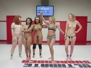 Four hot babes were struggling against each other and now, they are going to...